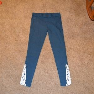 amaryllis blue stretch jeans with lace size large
